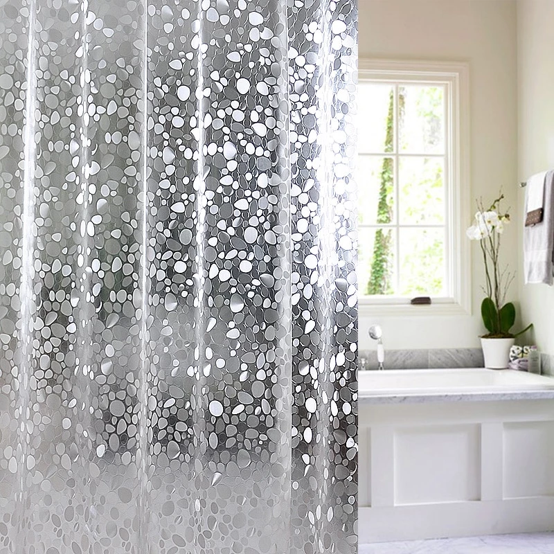 Jg29 Plastic Peva 3d Waterproof Shower Curtain Transparent White Clear Bathroom Curtain Luxury Bath Curtain With