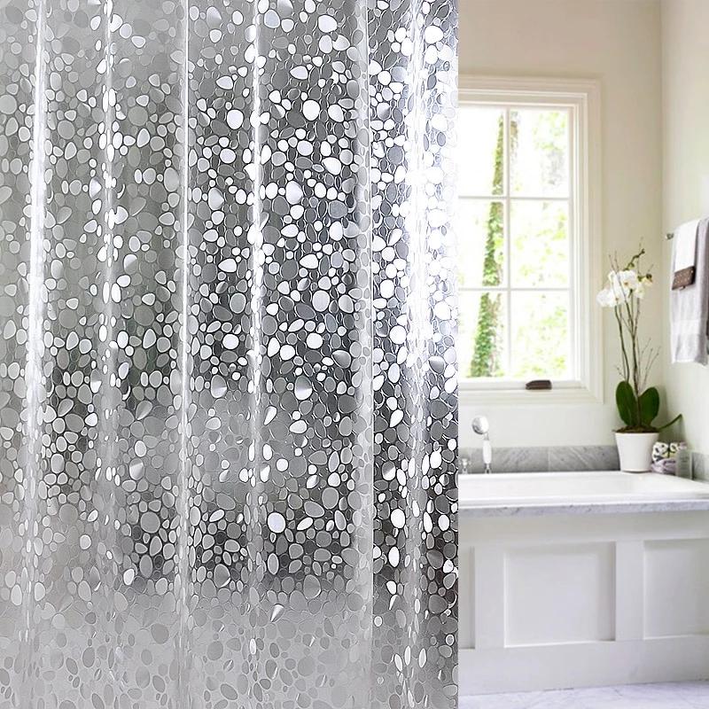 Jg29 Plastic Peva 3d Waterproof Shower Curtain Transparent White