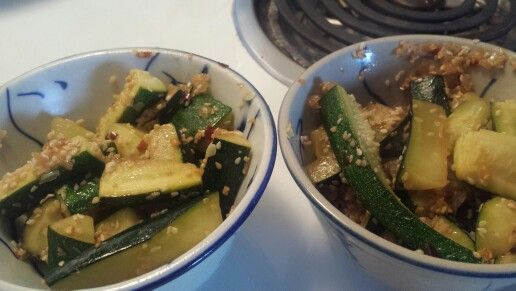 Sesame and zucchini with soy sauce.