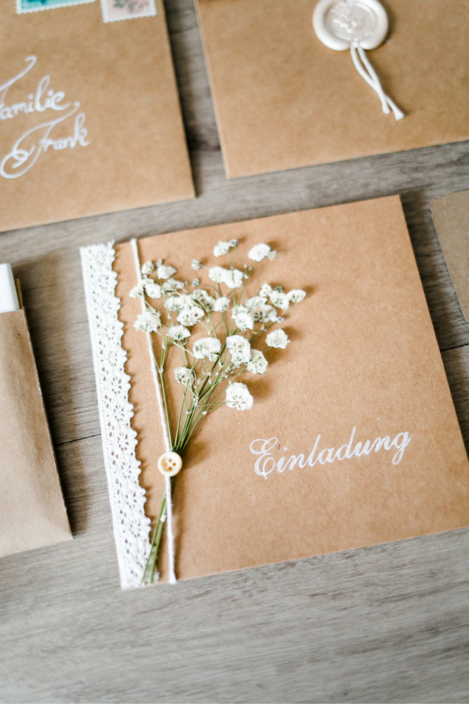 Bekannte Vintage Einladungskarten für Deine Hochzeit zum selber Basteln  OS07