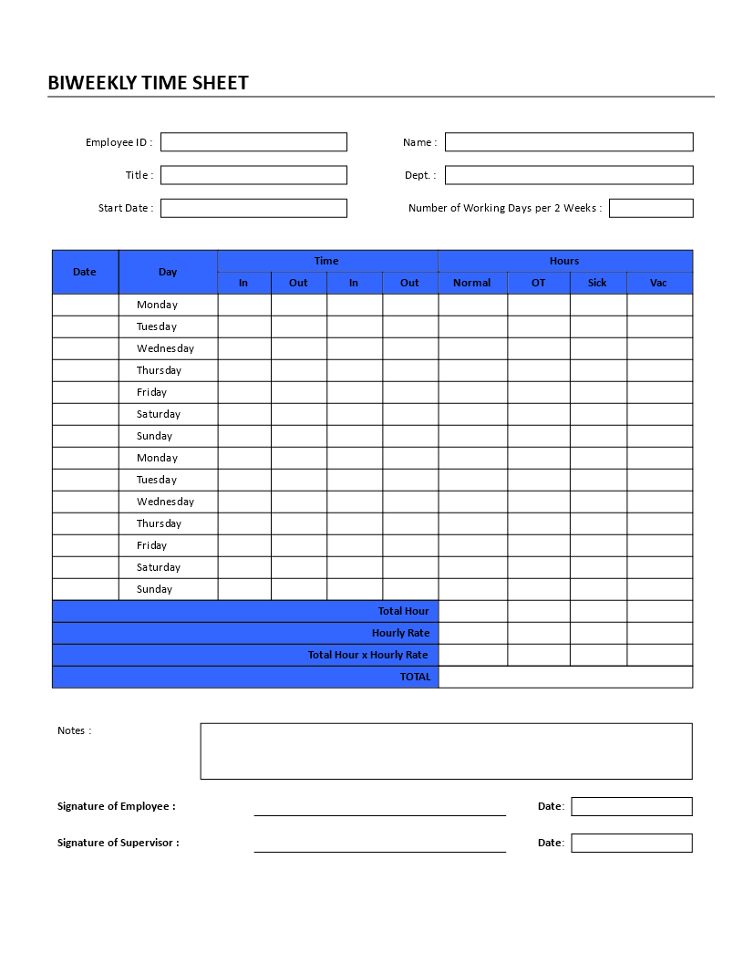 Biweekly Time Sheet   Bi Weekly Time Sheet Template