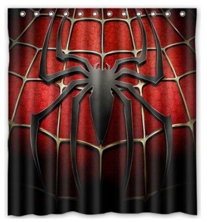 Custom Cartoon Anime Spider Man Waterproof Polyester Fabric Shower