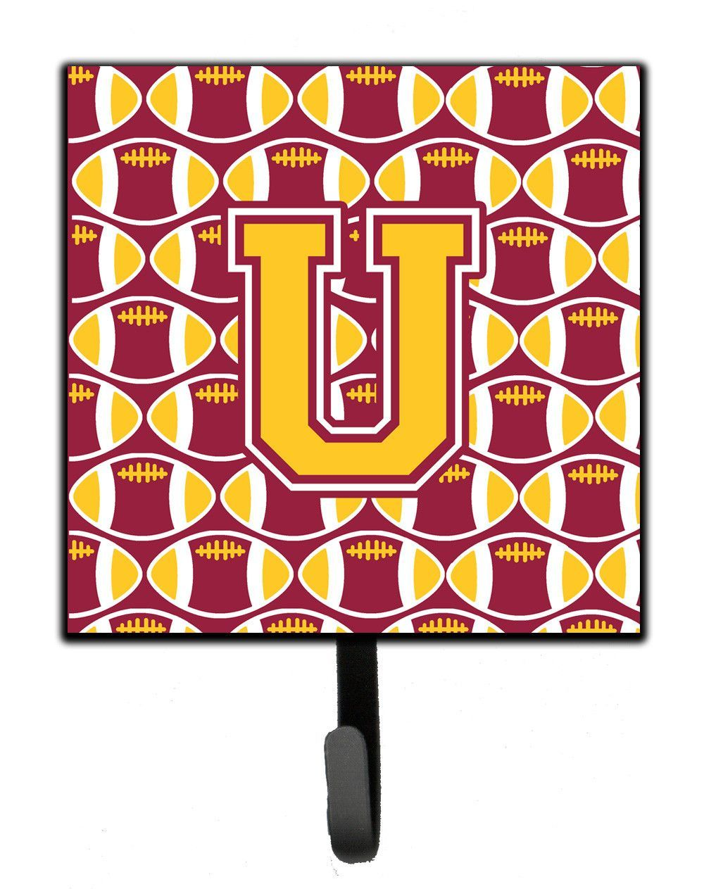 Letter u football maroon and gold leash or key holder cjush