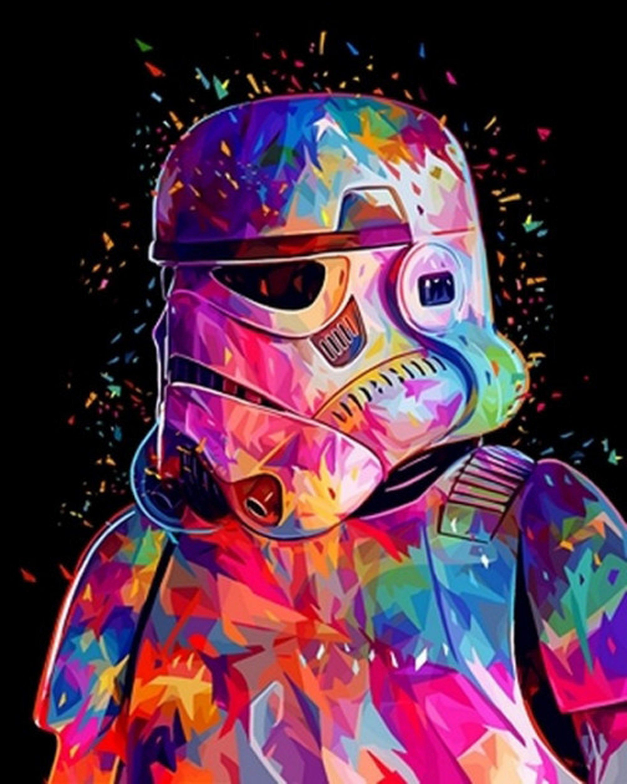Star Wars Paint by Number Kit, Empire stormtrooper, Painting by numbers, Acrylic picture, For adult, With frame