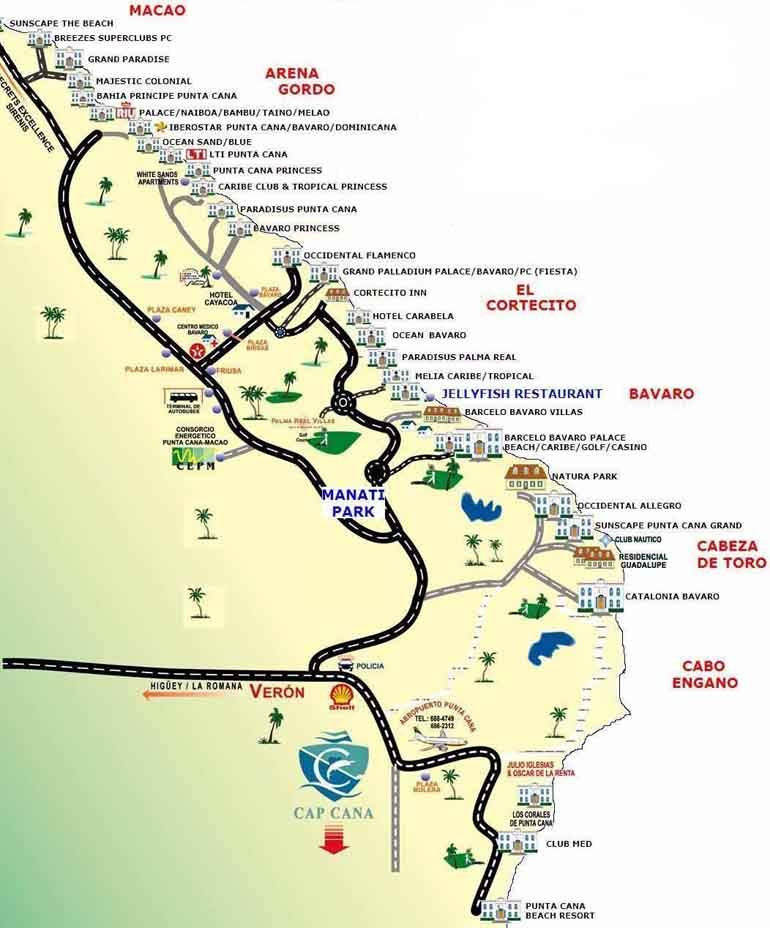 Punta Cana Resorts Location Map With