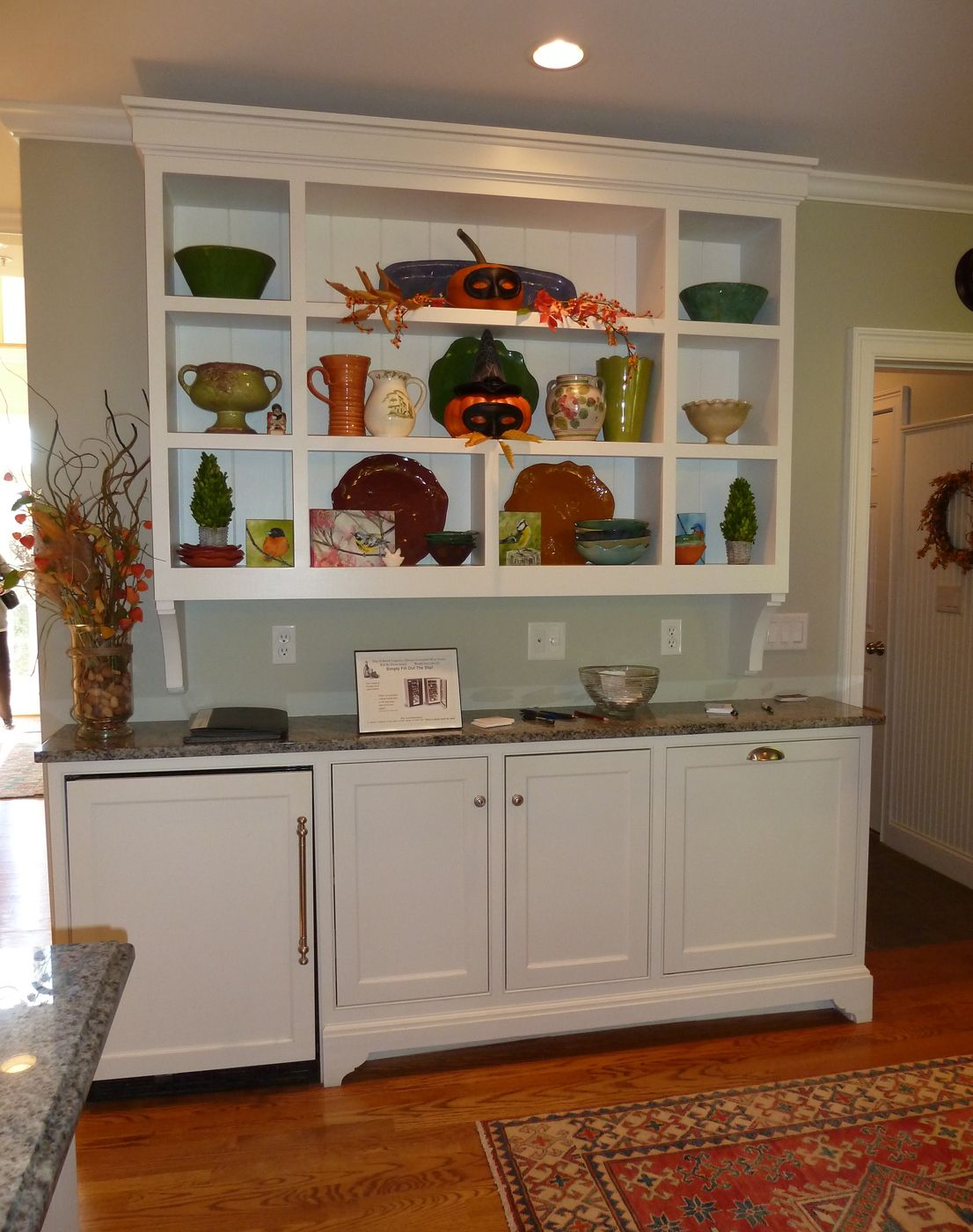 Dining Room Built In Wall Unit Wine Fridge Built Into A Separate Set Of Wall Cabinets Is Out