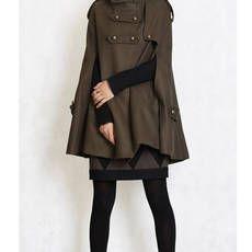 Cape,Winter hoodie Coat in GREEN, winter double breasted cloak , women cape ,clothing, Size XS,S,M,L, 70% wool (FM003B)