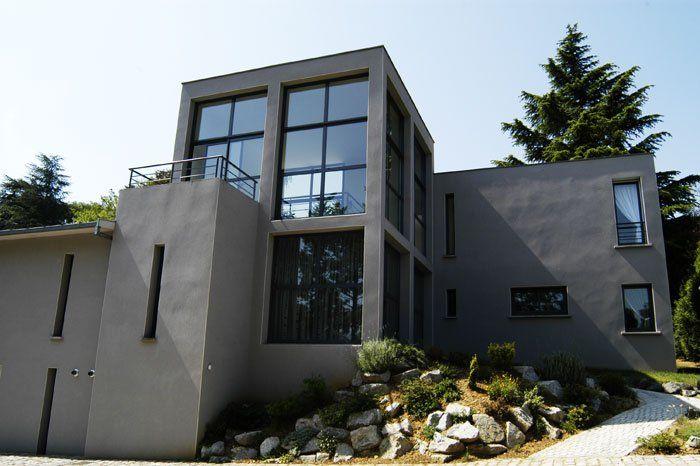 Maison Grise Maison Moderne Briques Maison Contemporaine Maison Moderne