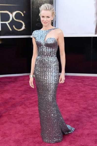 Amazing!! Oscars 2013 Red Carpet Fashion  Naomi Watts stunned in a custom-made metallic silver Armani Prive dress with cut-out details.