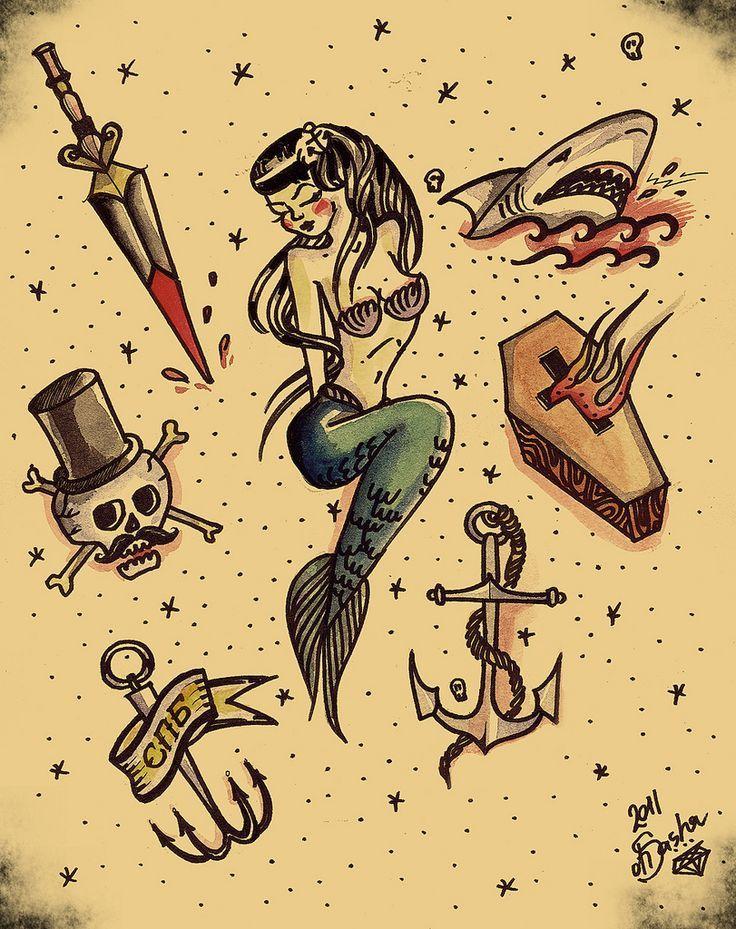 bildergebnis f r mermaid old school tattoo tattoos pinterest tattoo sailor jerry and tattos. Black Bedroom Furniture Sets. Home Design Ideas