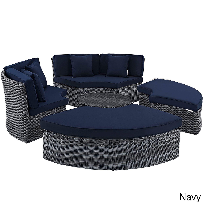Modway Invite Circular Outdoor Patio Daybed Canvas Navy Blue