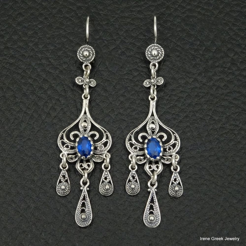BLUE SAPPHIRE CZ FILIGREE STYLE 925 STERLING SILVER GREEK HANDMADE ART EARRINGS #IreneGreekJewelry #DropDangle