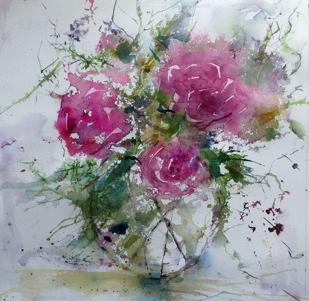 3 Pivoines Peintures Florales Aquarelle Fleurs Aquarelle Florale