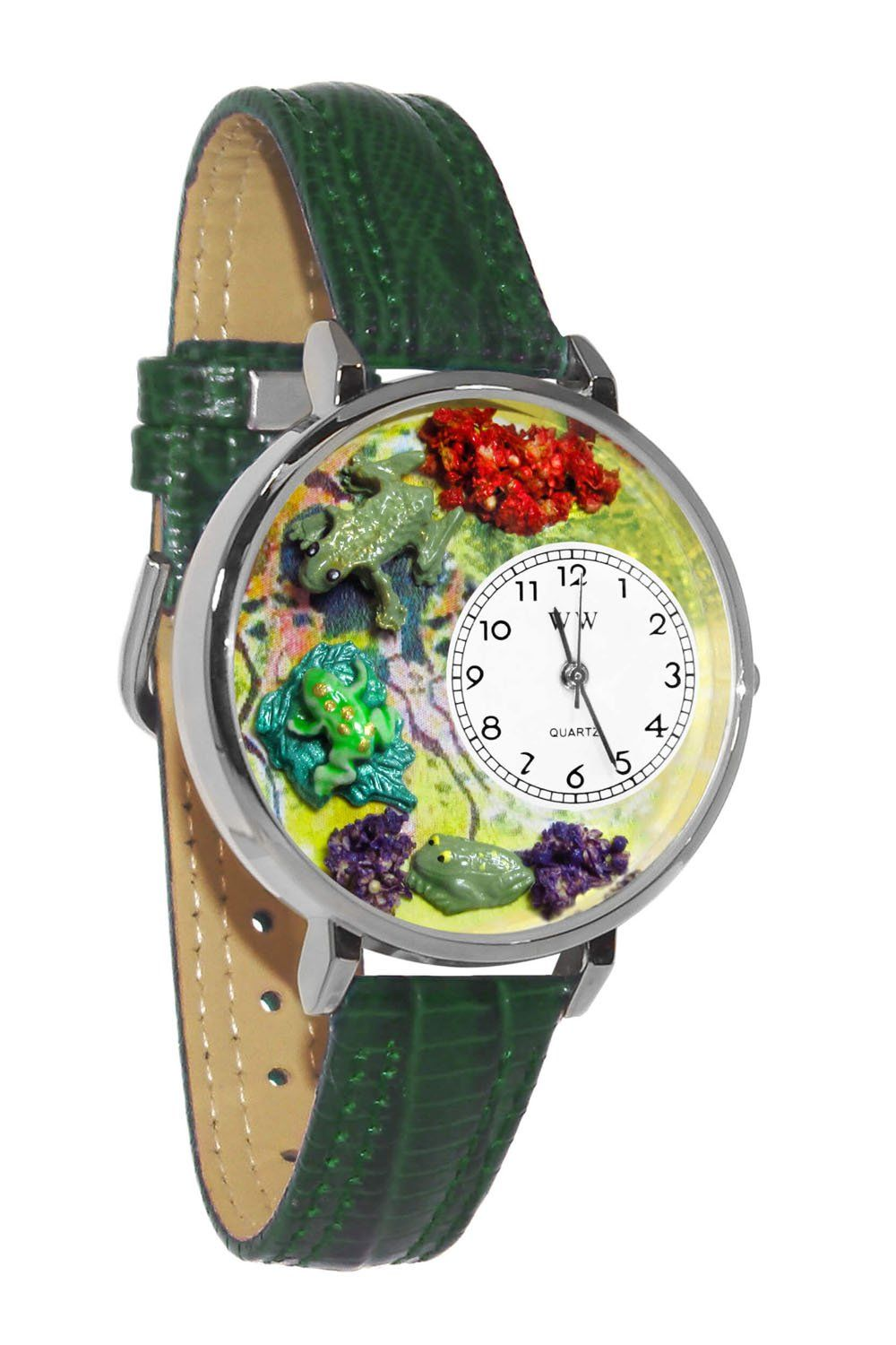 Frogs Hunter Green Leather And Silvertone Watch