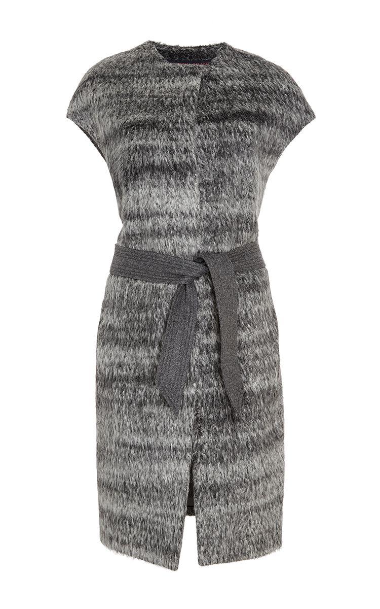 Grey Alpaca Wool Self Tie Vest by MARTIN GRANT Now Available on Moda Operandi