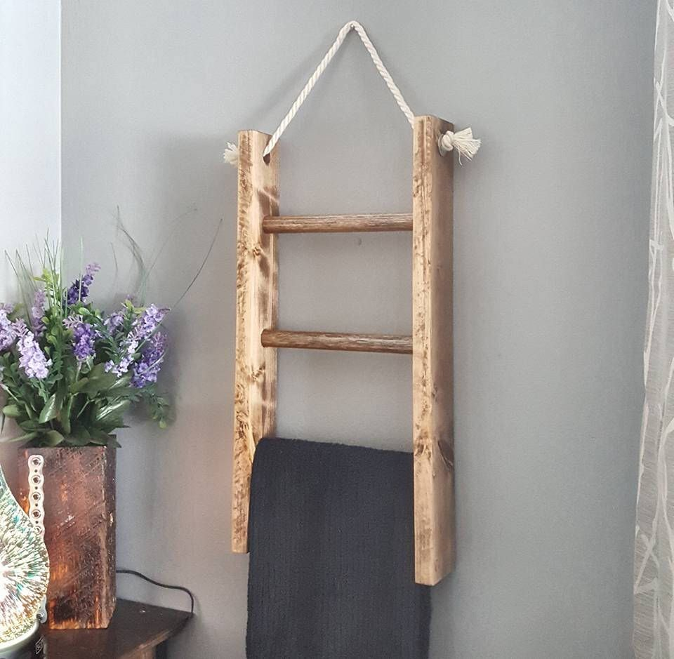 Hanging Wooden Ladder Hand Towel Ladder Towel Rack Towel Etsy Farmhouse Bathroom Decor Towel Rack Bathroom Hanging Ladder Towel Racks