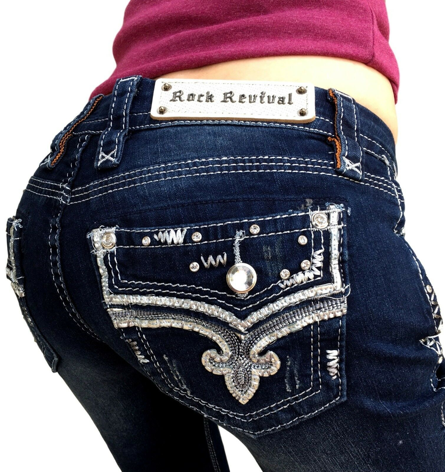 Womens Rock Revival Jeans Low Rise Faux Flap Pocket Betty Skinny Stretch Jean
