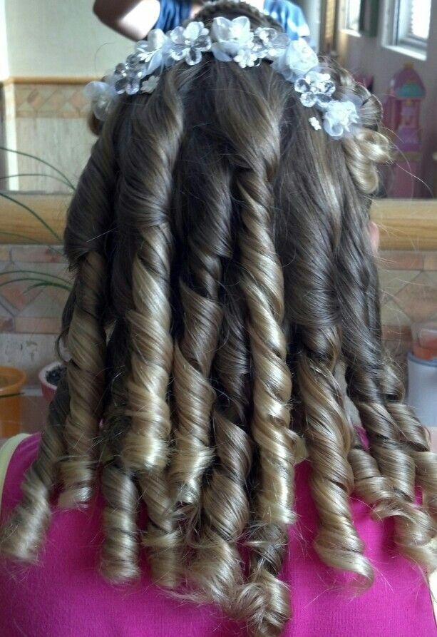 Peinados para nina primera comunion con crespos