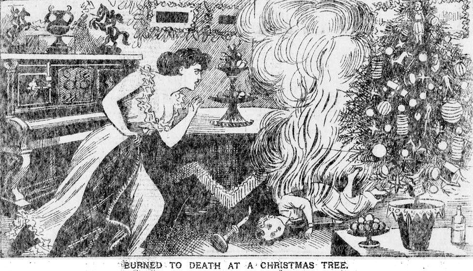 """""""Burned to Death at a Christmas Tree"""" (Illustrated Police News 1896)"""