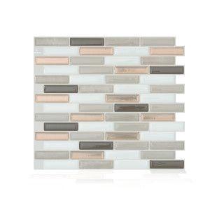 the peel and stick smart tiles for backsplash in kitchen and rh pinterest com Ceramic Tile Kitchen Backsplash Ceramic Backsplashes for Kitchens