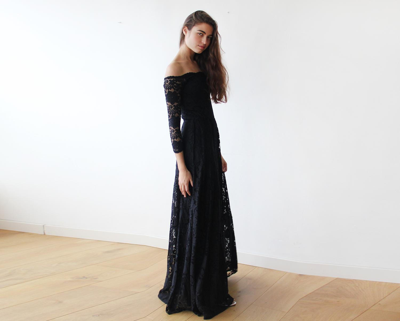Offtheshoulder black floral lace long sleeve maxi dress