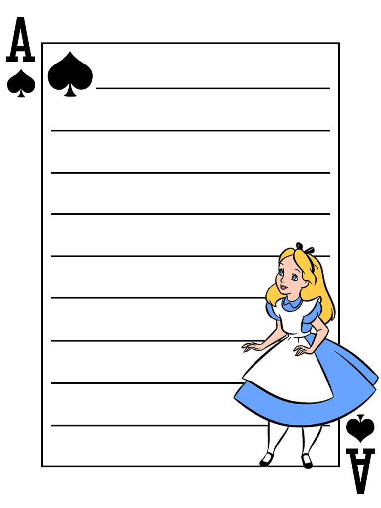 Journal Card - Alice - Alice in Wonderland - Playing Card - lines - 3x4 photo dis_558_Alice_playingcard_lines_3x4.jpg