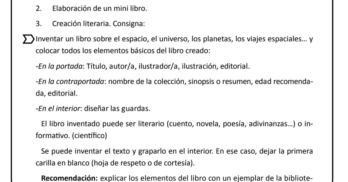 Partes Del Libro Fichas Pdf Partes Del Libro Mini Libros Viaje Espacial
