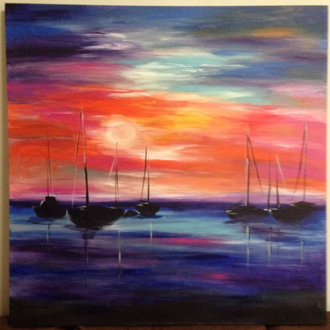 Harbour sunset - acrylic