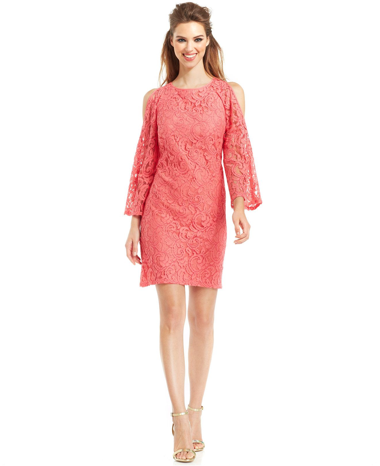 Adrianna papell cutout shoulder lace dress bridesmaids women adrianna papell cutout shoulder lace dress bridesmaids women macys ombrellifo Images