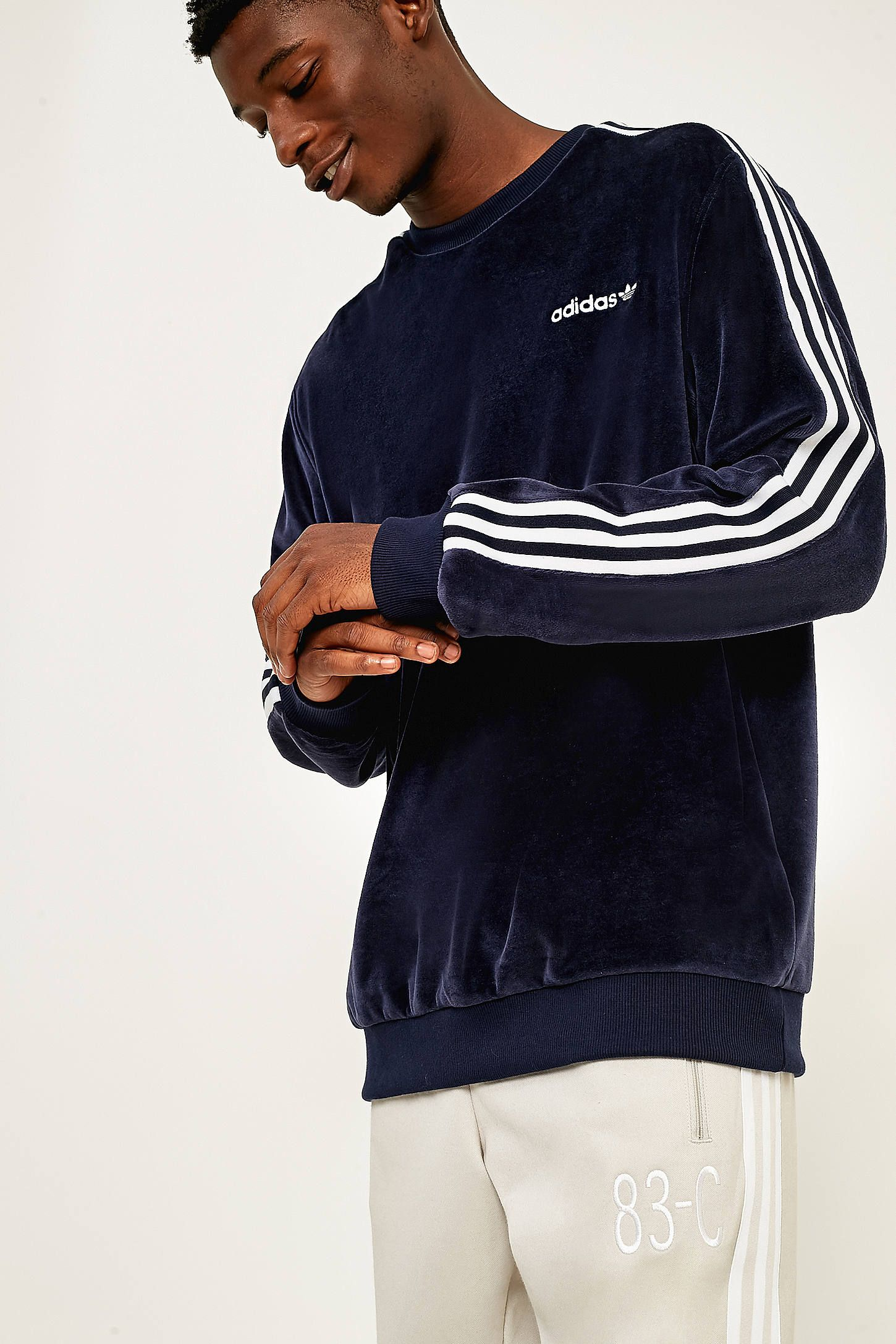 adidas originals velour crew sweatshirt
