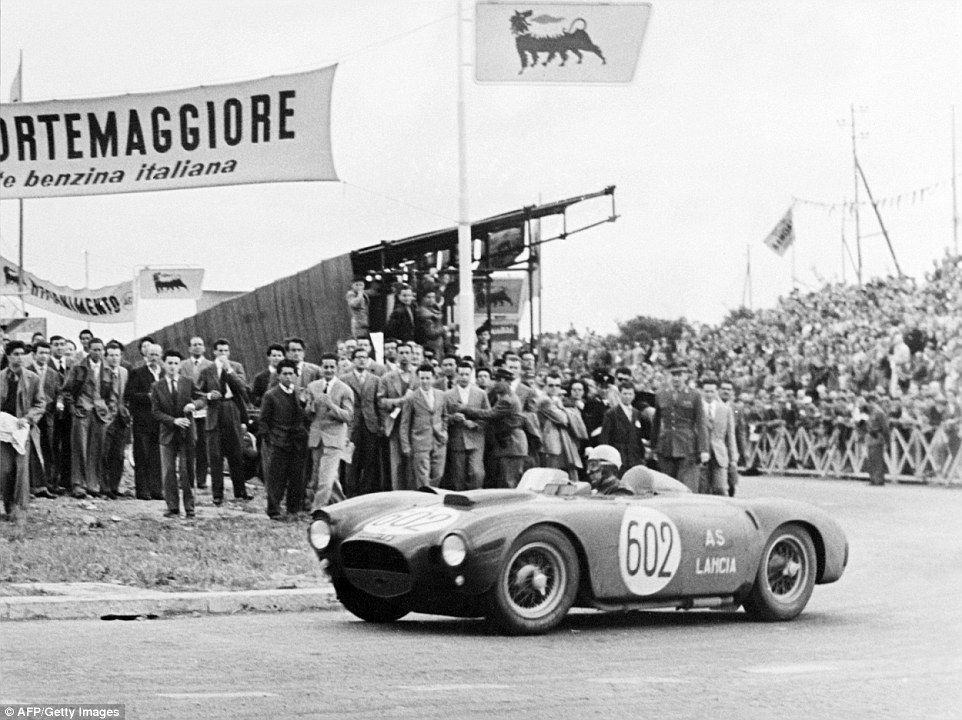 Fast Cars: Italian Driver Alberto Ascari Steers His Lancia At The Finish  Line Of The