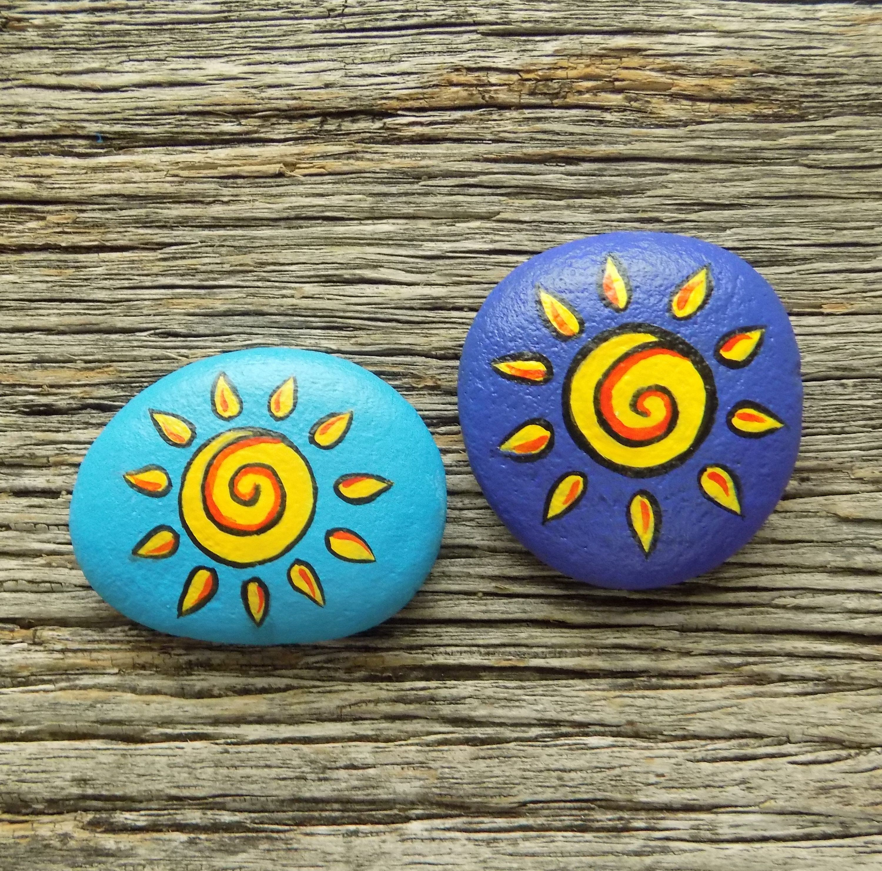 Sun Painted Rocks Decorative Accent Stone Paperweight By