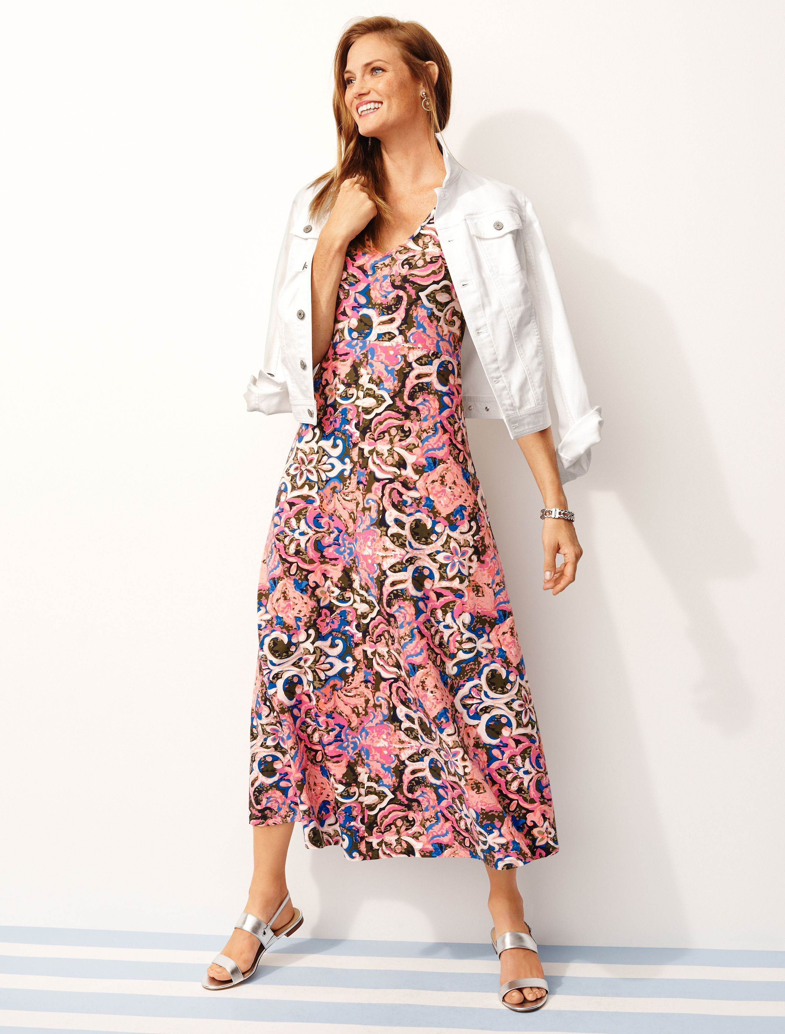 08835afea37 A colorful maxi dress made of our drapey casual jersey fabric. This  easy-to-wear style is equal parts flowy