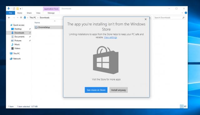 Windows 10 permitirá elegir instalar aplicaciones sólo a través de la Tienda