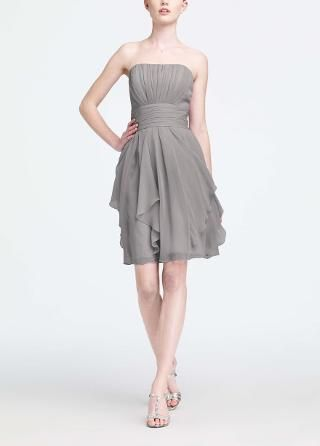 Strapless Chiffon Dress with Layered Skirt - David's Bridal ...