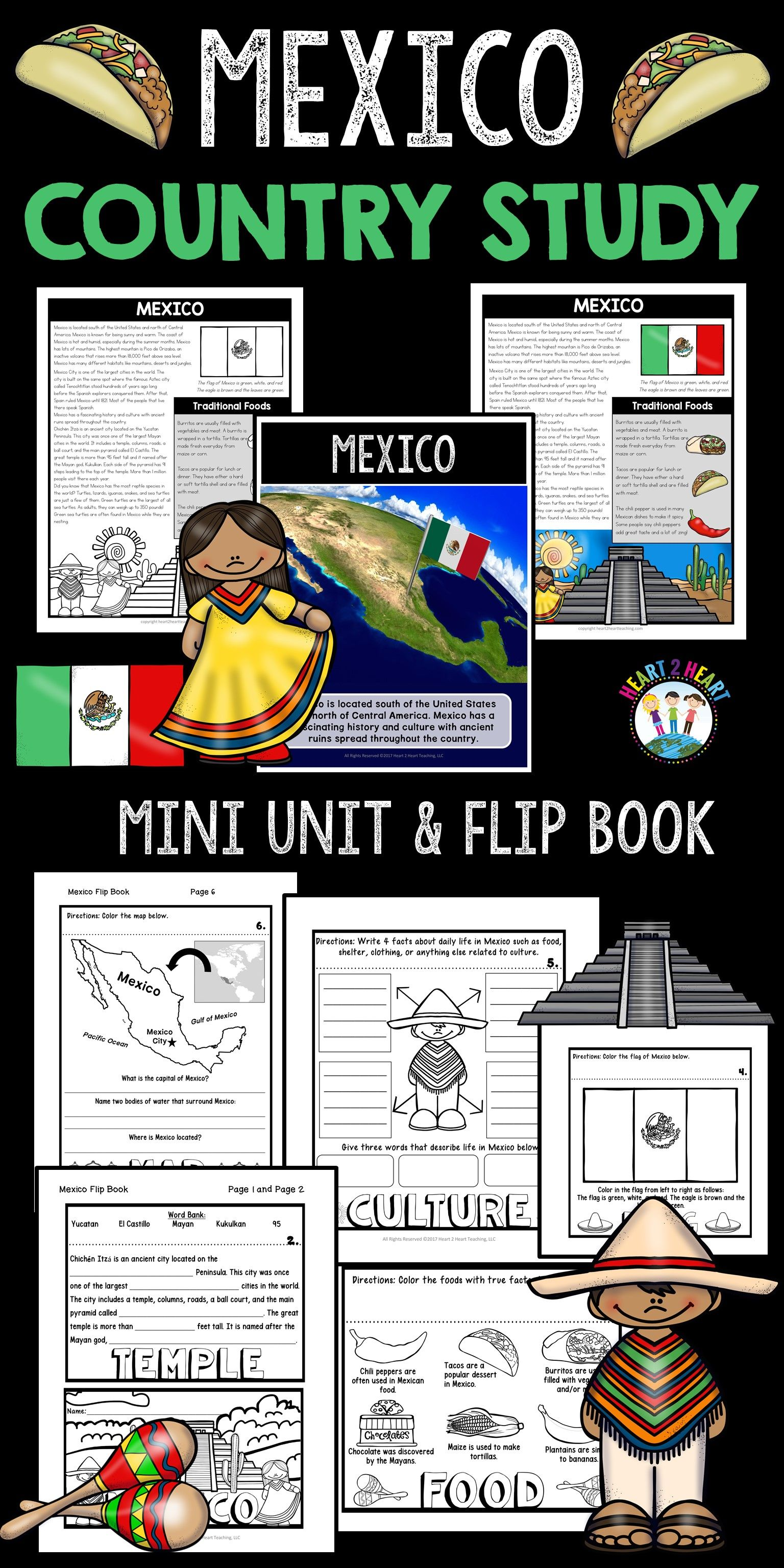 Mexico Country Study A Mini Unit With Mexico Flip Book