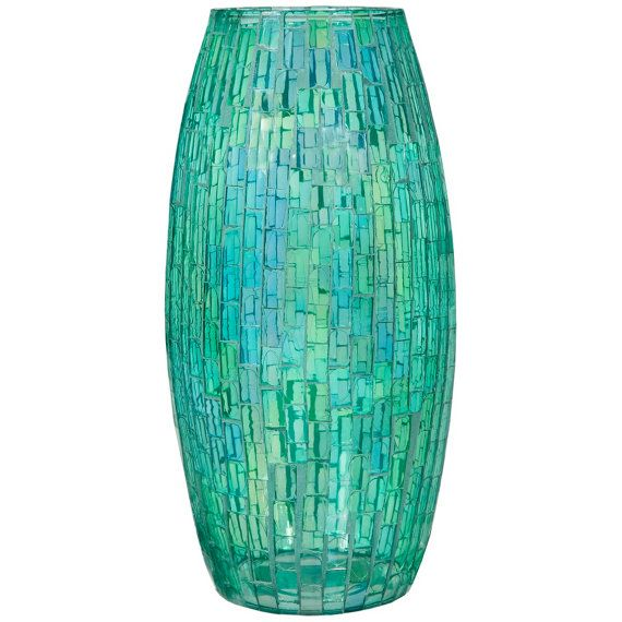Blue/Green Mosaic Vase by ThistlesHomeAccents on Etsy