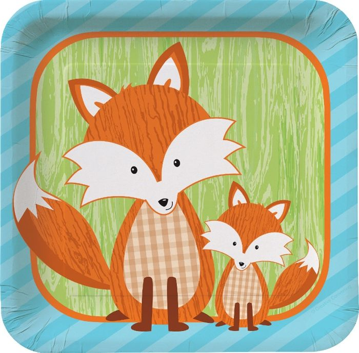 Forest Fox 7 inch Square Lunch Plates/Case of 96 & Foxie plates. The ensemble available at http://www.greenpartygoods ...