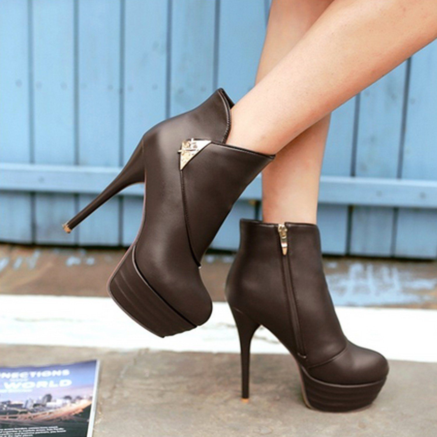 Womens Round Toe Ankle Fur Decoration Stiletto High Heel Boots