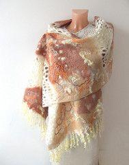 Nuno felted scarf - Beige White   by GalaFilc