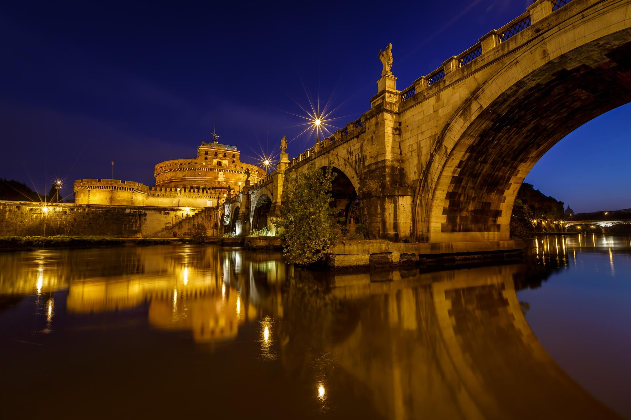 Saint Angel Fortress And Angel Bridge Over The Tiber River In Rome At Dawn | Italy | Photo By Andrey Omelyanchuk