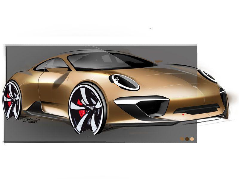 Porsche sketch by david kunze design pinterest dessin voiture voiture et dessin - Croquis voiture ...