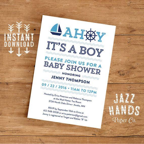 printable nautical baby shower invitation template | diy printable, Baby shower invitations