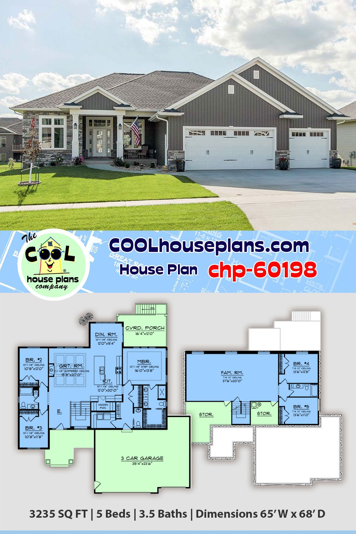 Craftsman Style House Floor Plan Chp 60198 Has 3235 Sq Ft 5 Beds 4 Baths And A 3 Bay Craftsman House Plans Craftsman Style House Plans Craftsman Style Homes