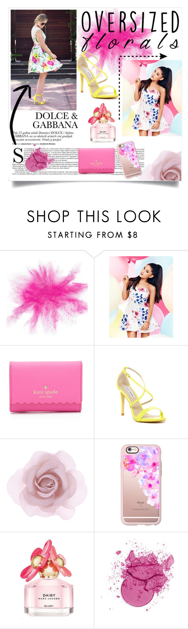 """""""Ovesized Florals"""" by spendyfoxx ❤ liked on Polyvore featuring Lipsy, Kate Spade, Steve Madden, Accessorize, Casetify and Marc Jacobs"""