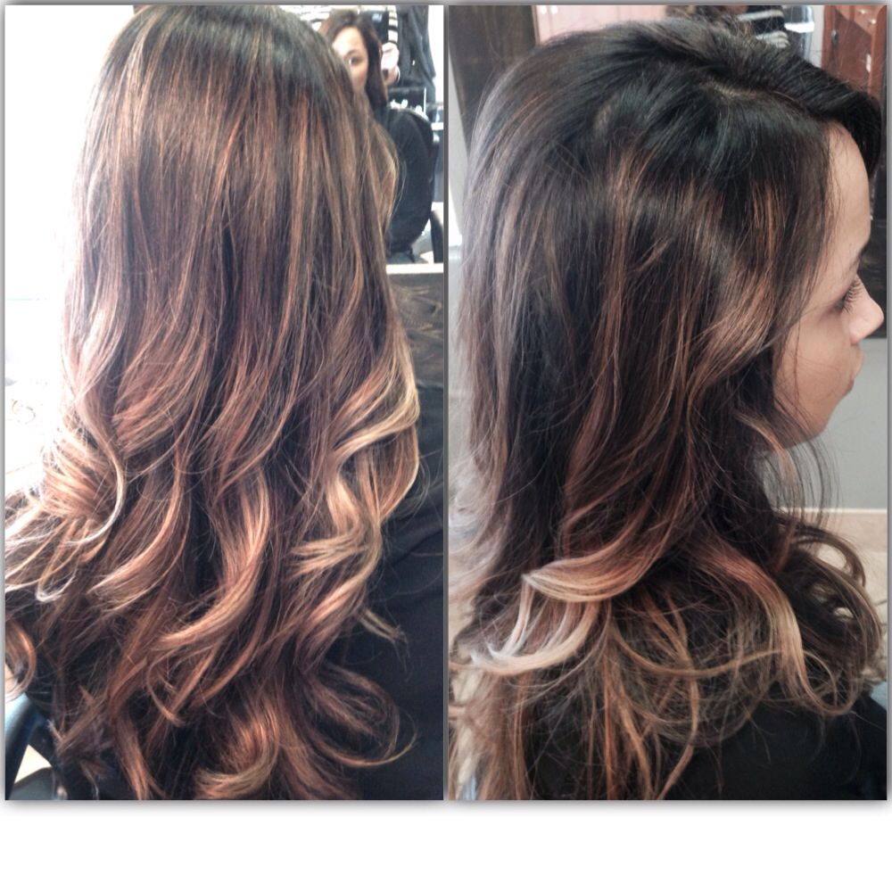dark ombré with light blonde ends long curly hair cute style dark