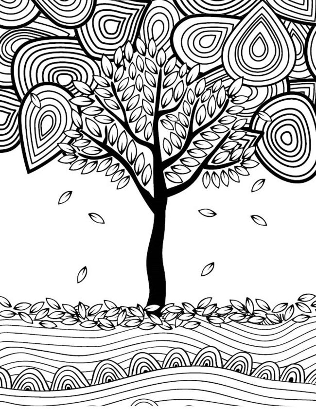 12 Fall Coloring Pages for Adults Tree Fall Crafts