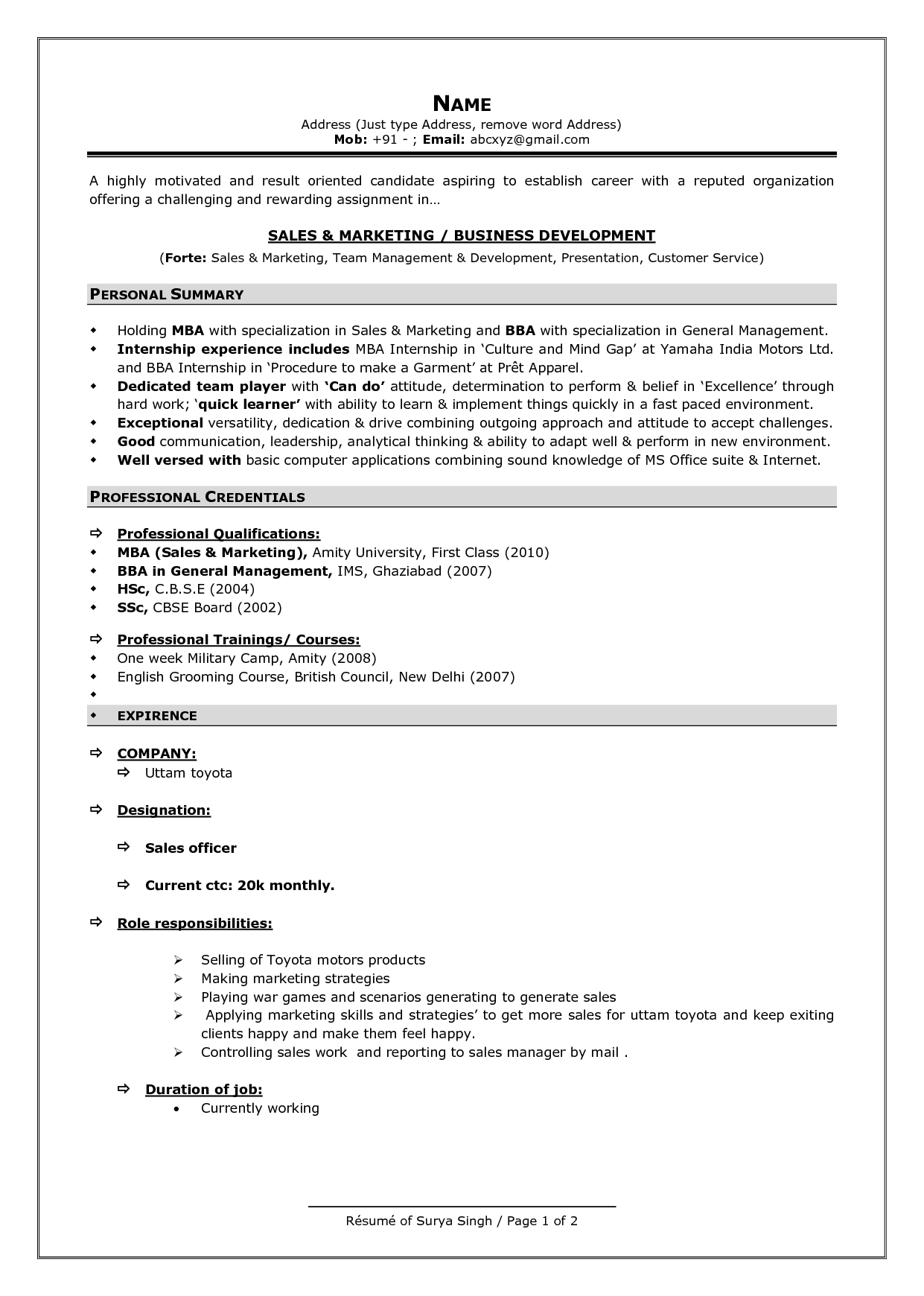 latest resume format doc - Template
