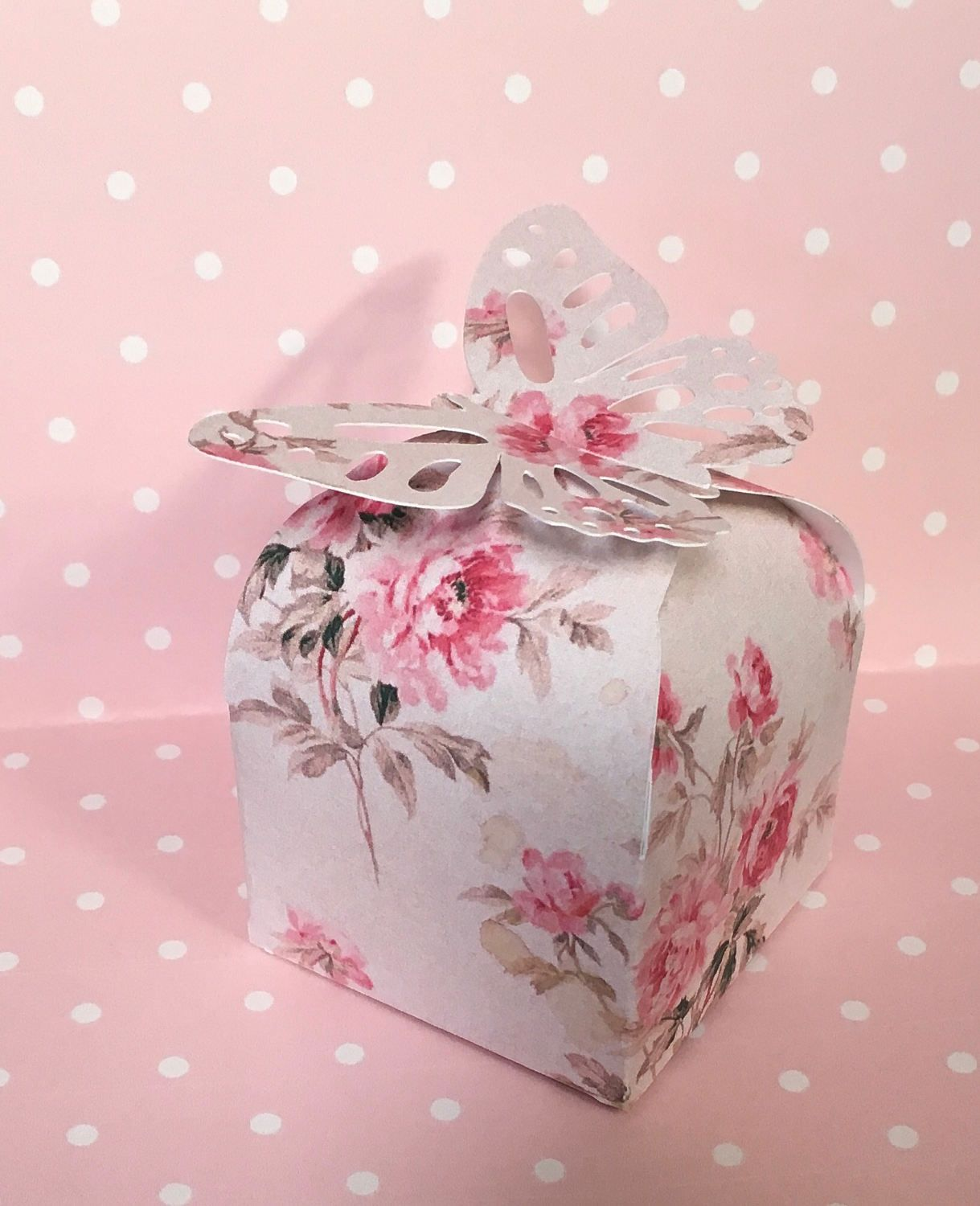 6 Gift Boxes, Favor Boxes, Shabby Chic Pink Roses Top Closure for ...