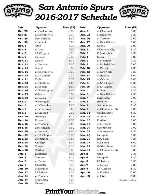 graphic relating to Spurs Schedule Printable titled Printable San Antonio Spurs Basketball Routine 2016 - 2017